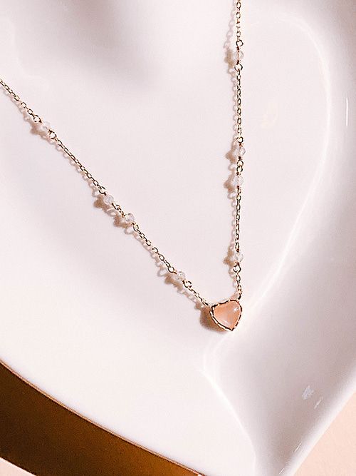 40.Love Adagio Silver Necklace [CORAL]