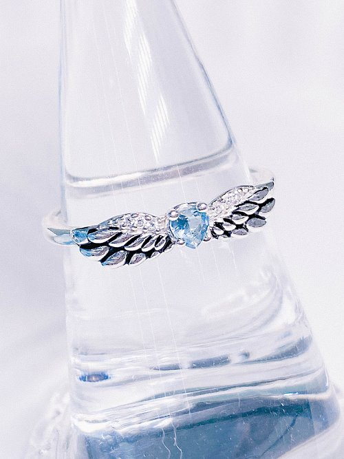 [Silver 925] 날개 잃은 천사 Blue Topaz Ring
