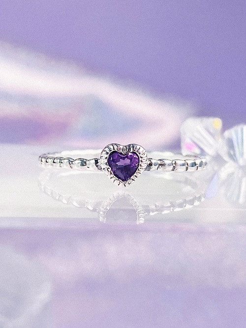 [Silver 925] Amethyst Heart Ring